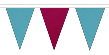 SKY BLUE AND CLARET TRIANGULAR BUNTING - 10m / 20m / 50m LENGTHS
